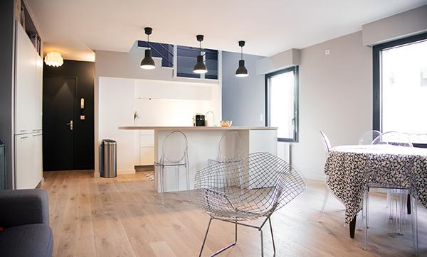 Peinture intérieure d'un appartement situé quai de Versaille à Nantes – cuisine