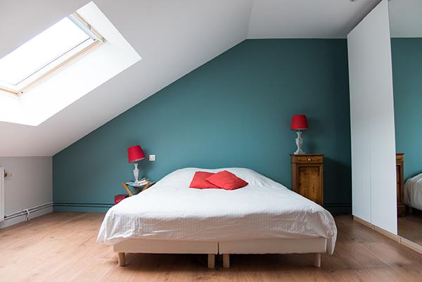 Peinture intérieure d'un appartement situé quai de Versaille à Nantes – chambre parent