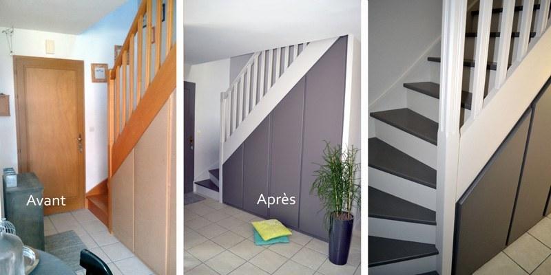 Nos r alisations d 39 int rieur les avant apr s chantiers for Peinture escalier bois