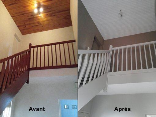 Cage d'escalier repeinte