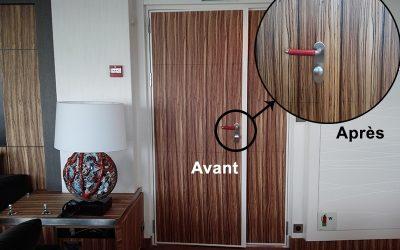 Trompe l'oeil : faux bois bordure de porte