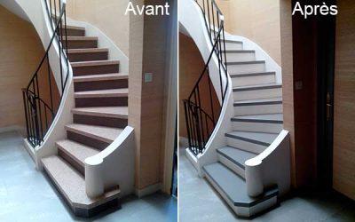 Escalier repeint à Nantes