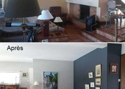 peinture d'un salon et sa cheminée à Vannes